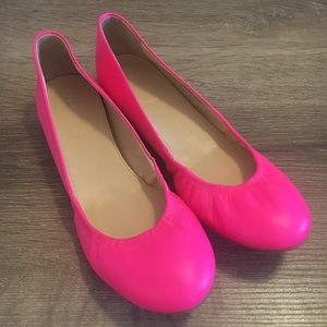 J. Crew Cece Leather Ballet Flats in Hot/Neon Pink